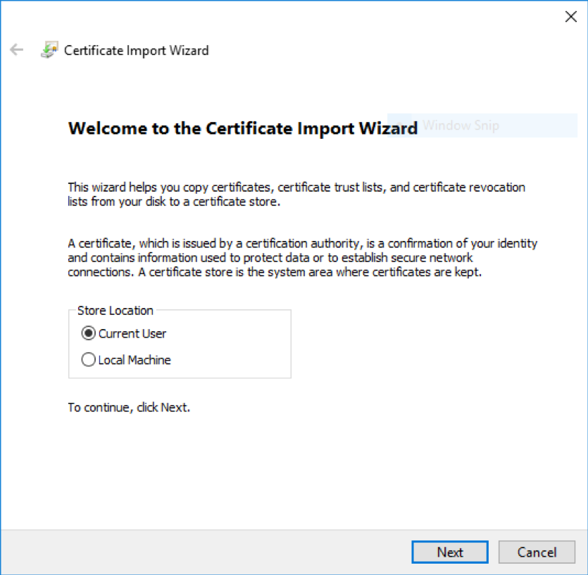 Windows Import Client Certificate